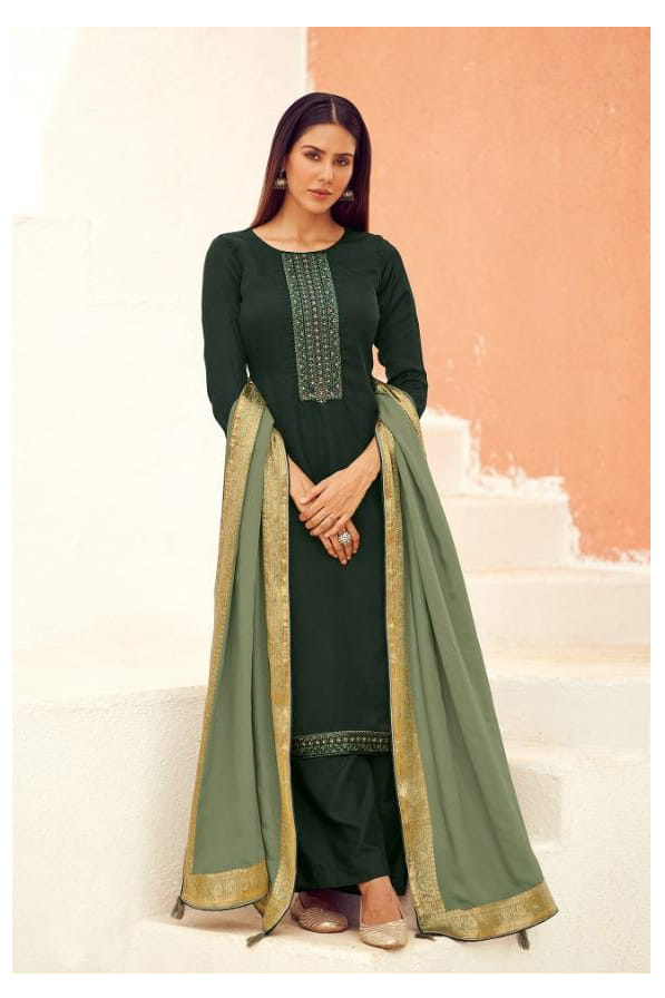Silk Leaf Green Embroidered Suit With Viscose Work Dupatta