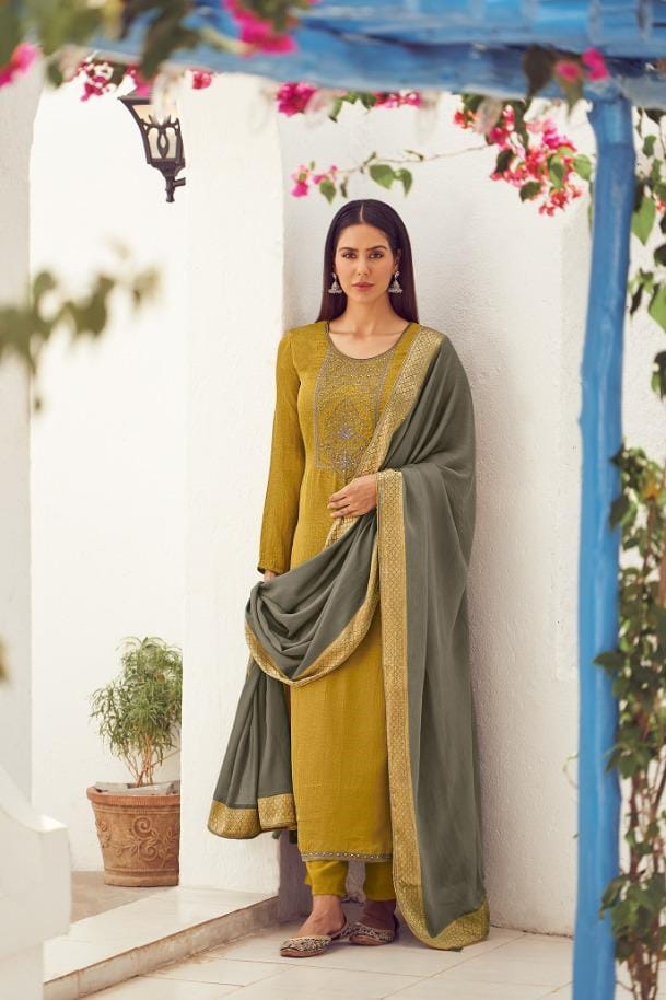 Silk Mustard Embroidered Suit With Viscose Work Dupatta