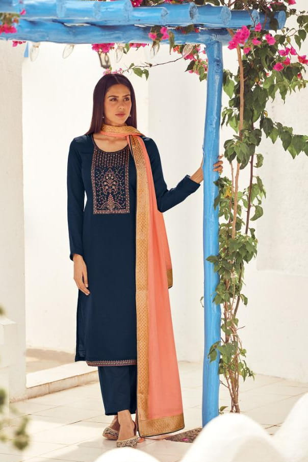 Silk Navy Blue Embroidered Suit With Viscose Work Dupatta