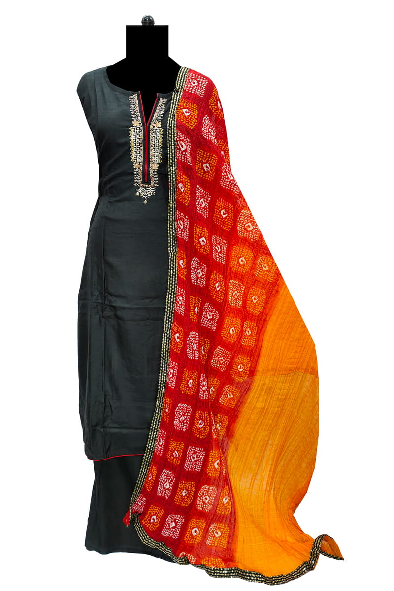 Silk Black Handwork Suit with Silk Bandhani Dupatta
