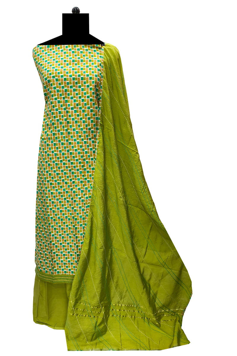 Cotton Green Check Suit with Cotton Embroidered Dupatta