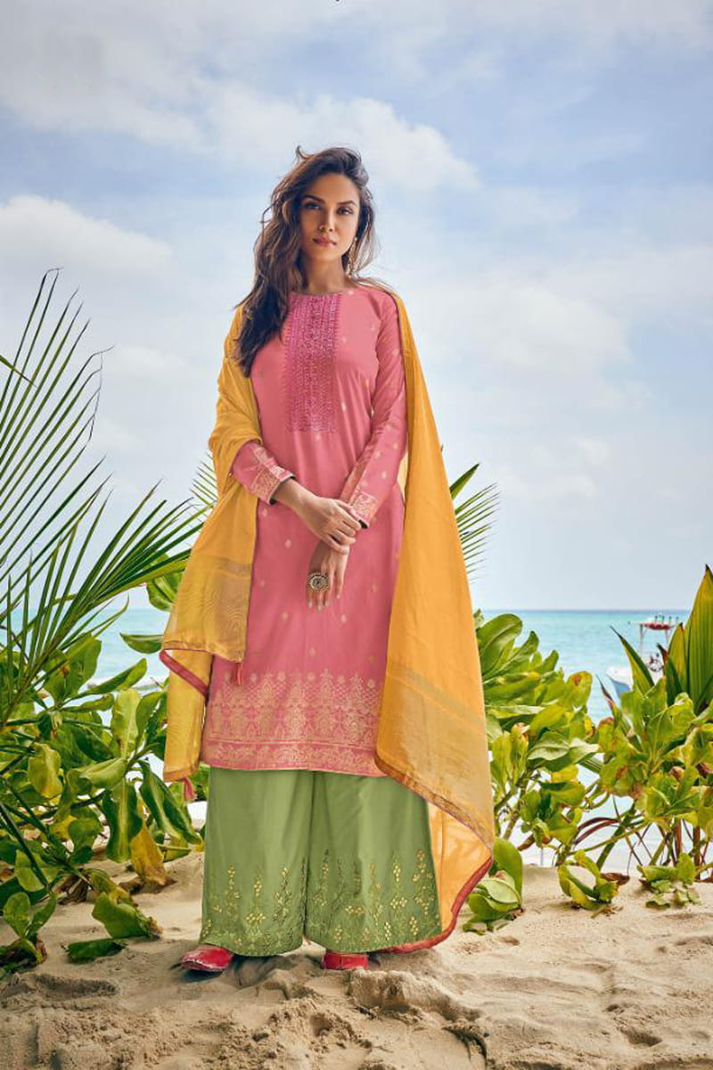 Cotton Pink Green Meenakari Embroidered Suit With Cotton Dupatta