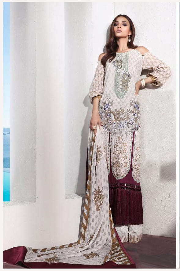 Pakistani Lawn Cotton Beige Maroon Krachi Embroidered Suit With Baraso Printed Tussle Dupatta