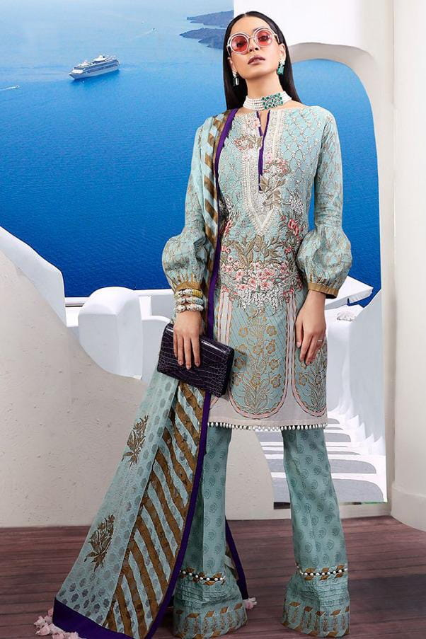 Pakistani Lawn Cotton Aqua Blue Krachi Embroidered Suit With Baraso Printed Tussle Dupatta