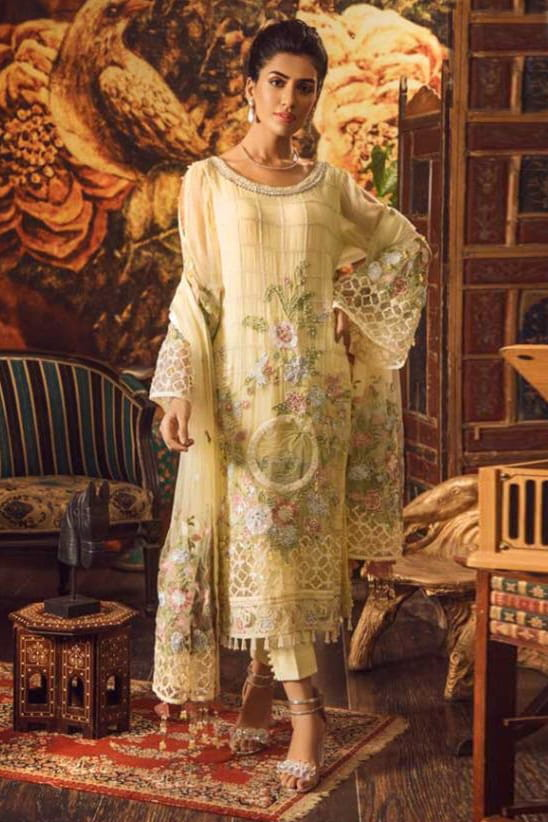 Pakistani Yellow Karachi Embroidered Georgette Suit With Embroidered Net Dupatta