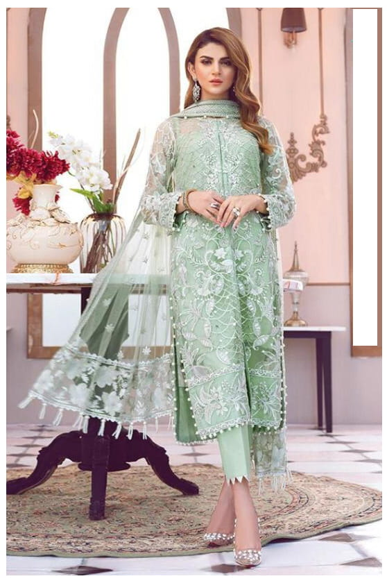 Pakistani Aqua Green Karachi Embroidered Georgette Suit With Embroidered Net Dupatta