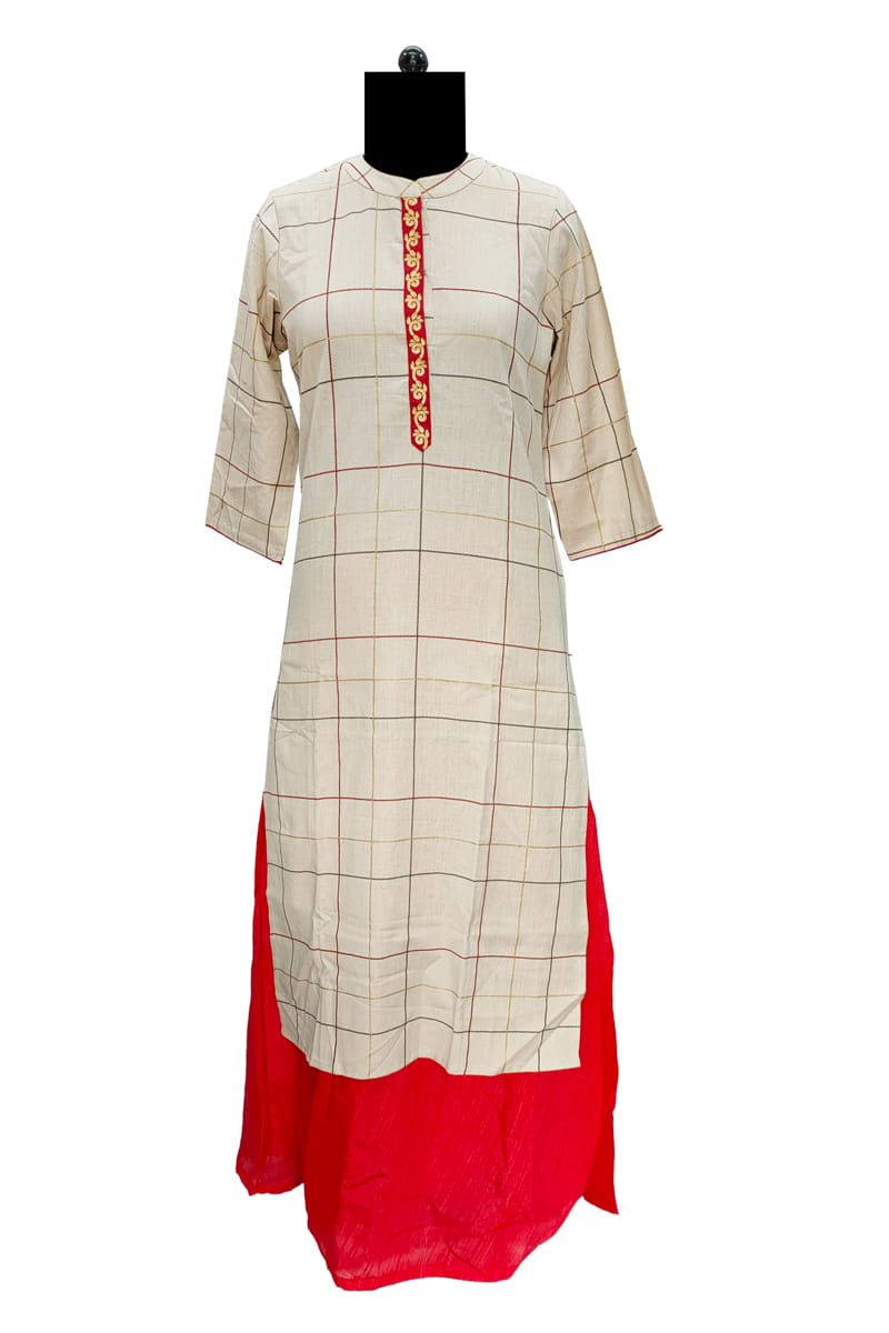 Beige Check Cotton Kurta With Embroidery