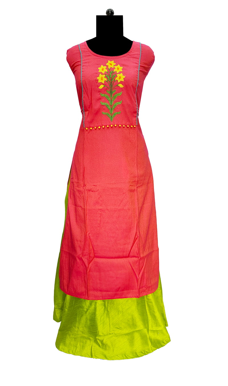 Red Emberoidered Work Cotton Kurta