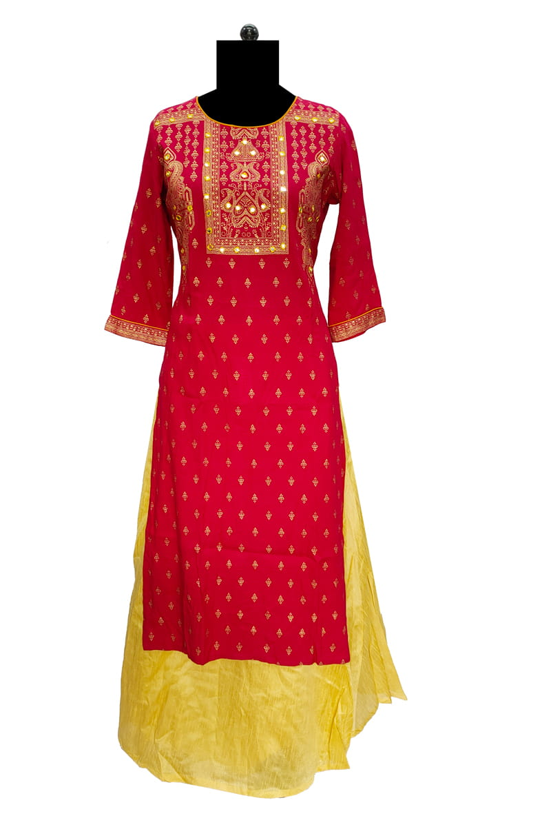 Red Miror Work Cotton Embroidered Kurta