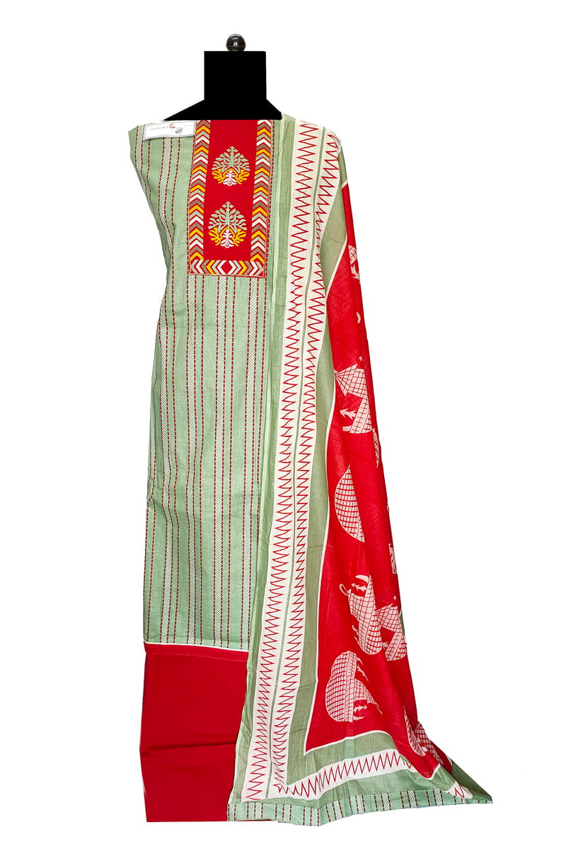 Cotton Green Red Emberoidered Suit With Cotton Dupatta