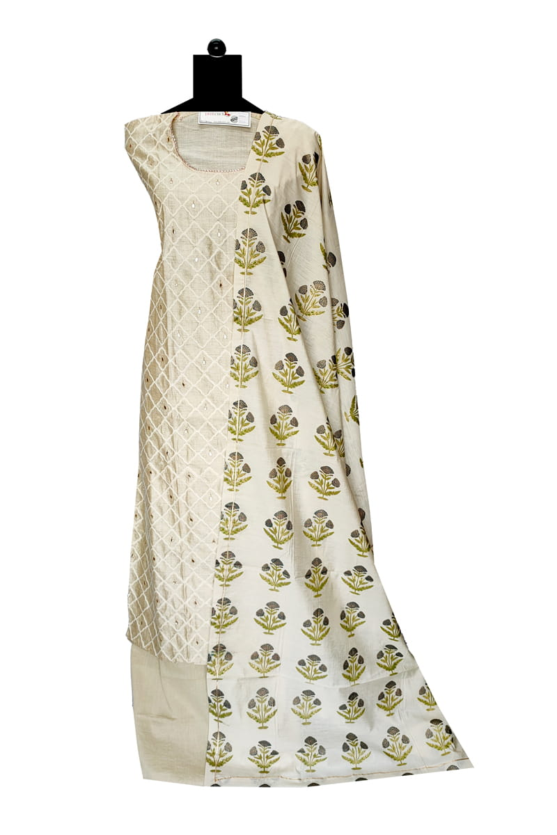 Khadi Cotton Embroidered Suit With Khadi Work Cotton Dupatta
