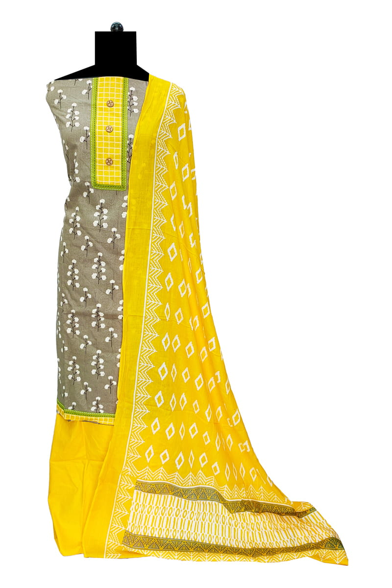 Cotton Grey Yellow Suit With Cotton Dupatta