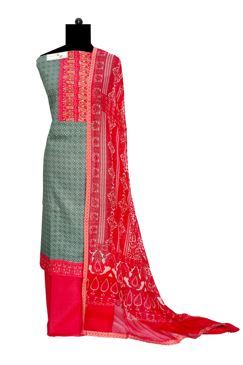 Cotton Grey Red Zari Embroidered Suit With Chiffon Dupatta