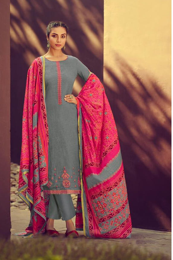 Glaze Cotton Grey Embroidered Suit With Printed Patola Dupatta