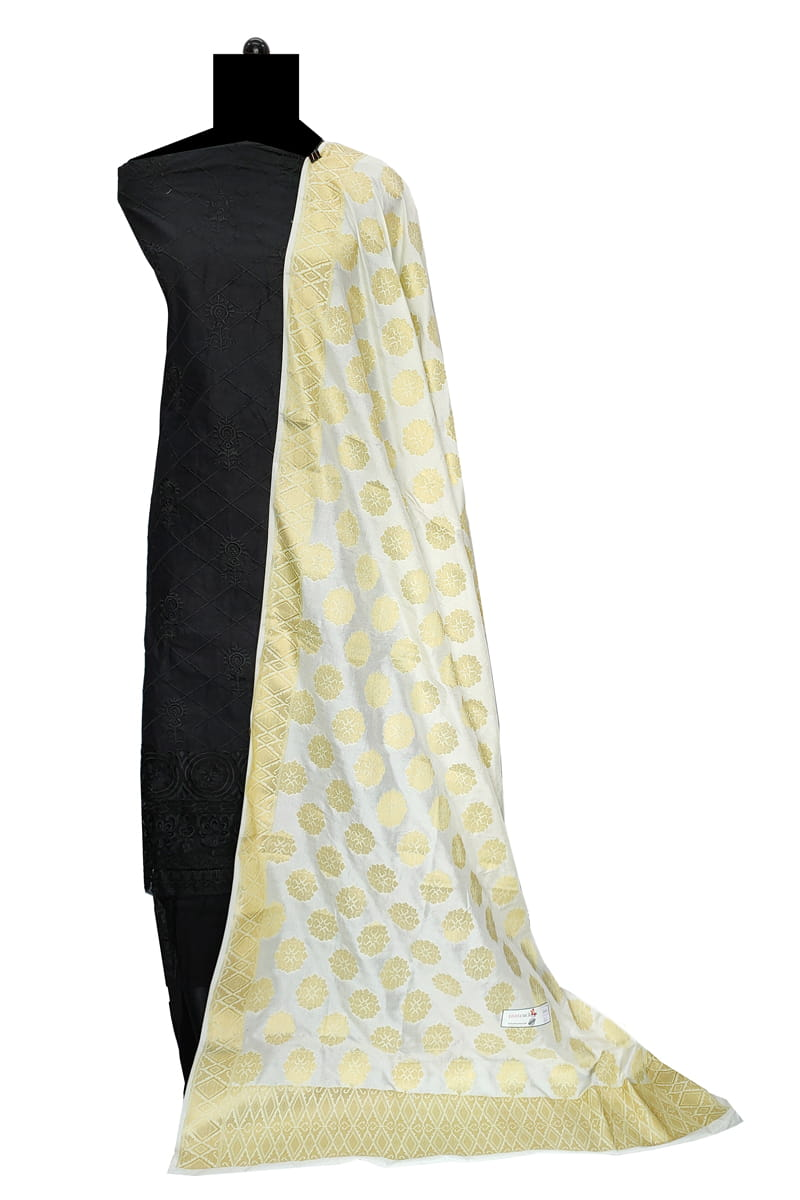 White Color Booti Work Heavy Banarasi Silk Dupatta