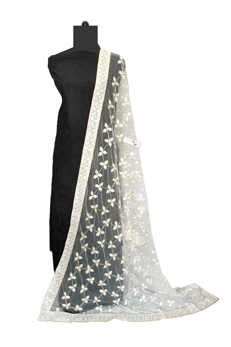 White Georgette Embroidery Work Dupatta