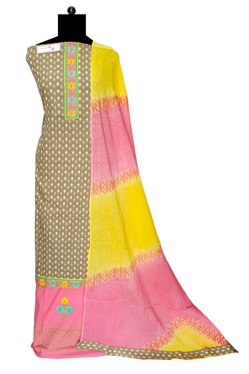 Grey Multi Color Embroidered Cotton Suit With Cotton Dupatta