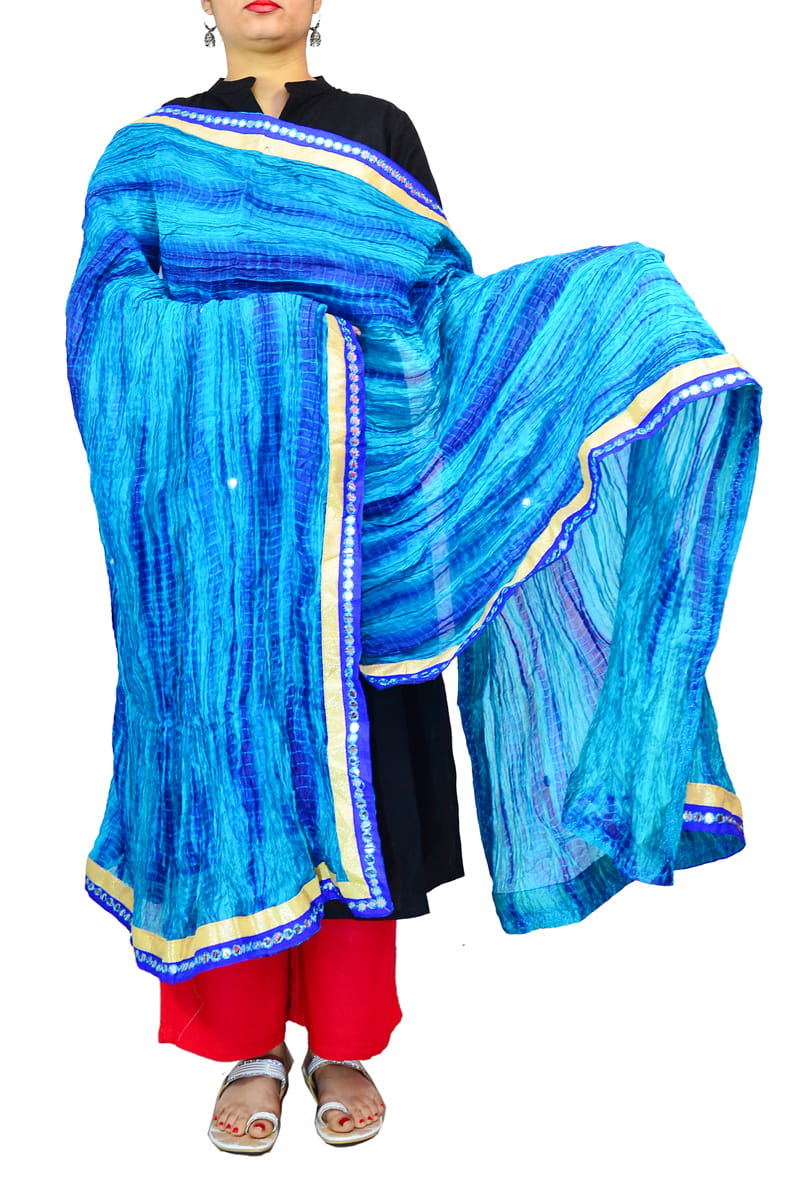 Silk Blue Mirror Work Dupatta