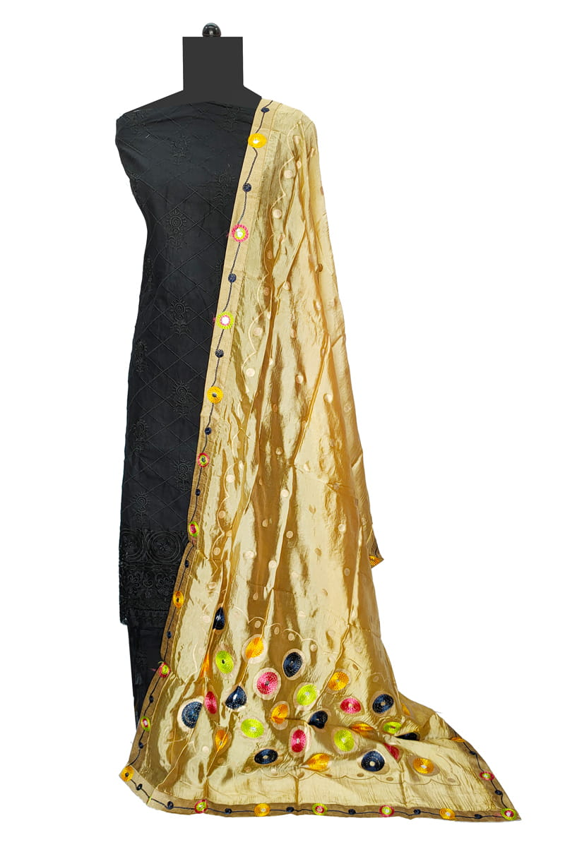 Silk Golden Multi Color Hand Work Dupatta
