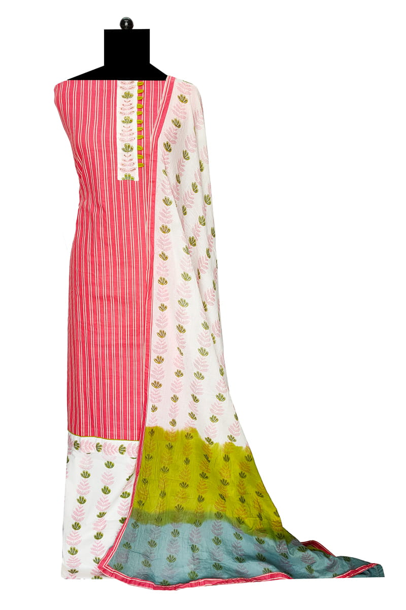 Pink Stripes Cotton Suit With Cotton Dupatta